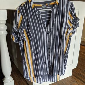 New York & Co Grey White and Yellow Stripe Blouse